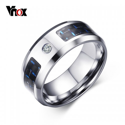 Vnox 8mm Finger Ring for Men Male Zincon Rings Blank Blue Carbon Fiber Band Alliance Jewelry