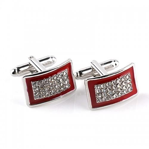 1 Pair Personality Men s Business Shirt Cufflinks Red Black Enamel Rhinestone Cufflink Simple Fashion Cuff