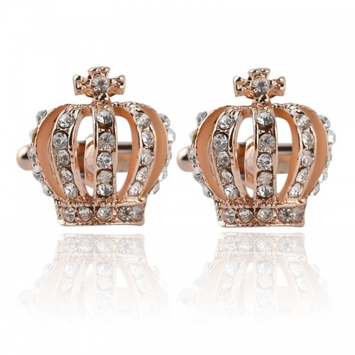 Gold Silver Bling Rhinestone Imperial Crown Cufflinks for Women Men Wedding Party Jewelry Gifts Fashion Cuff