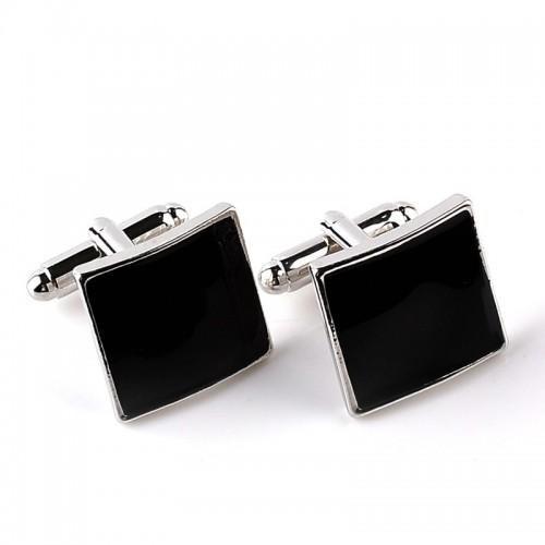 High Quality Classic Luxury Custom Silver Black Enamel Square Cufflinks For Men Women Simple Style Business