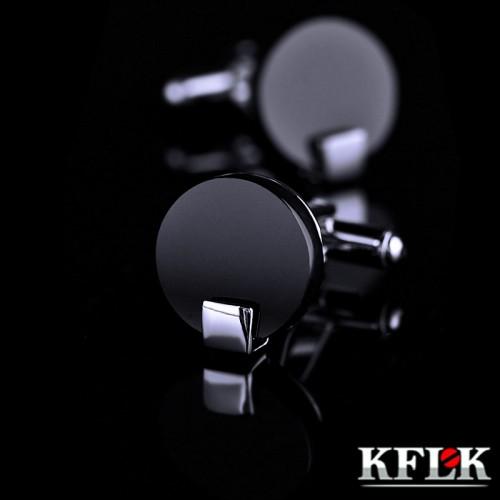 KFLK Jewelry shirt cufflink for mens Brand Black Cuff link Wholesale Button High Quality Round Luxury