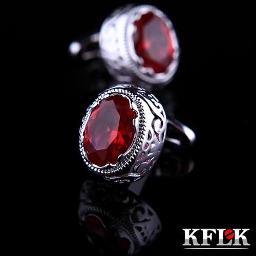 KFLK jewelry shirt cufflink for mens gift Brand cuff button Red Crystal cuff link High Quality