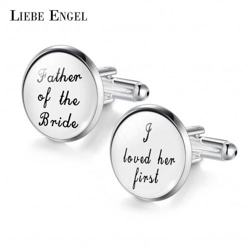 LIEBE ENGEL Wedding Cufflinks Custom White Black Background Men Cufflinks Groomsmen Gift the best is yet