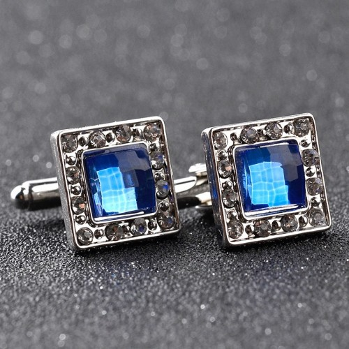 Luxury blue crystal white rhinestones squares cufflinks for mens shirt jewelry Trendy geometric twins cufflinks buttons