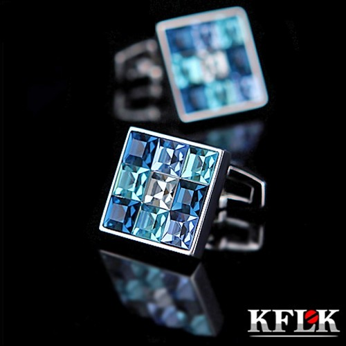 Luxury shirt cufflink for mens Brand cuff buttons Gradient effect Crystal cuff link High