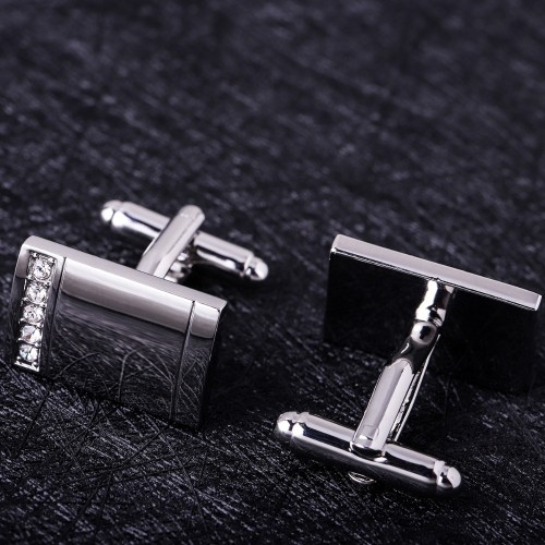 MAISHENOU Cuff links for mens Brand Silver Button with Crystal Cheap Cufflinks Wedding