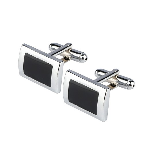 New Simple Style Black Rectangle Cufflinks Mens Shirt Cuff Button Christmas Gifts for Men Silver