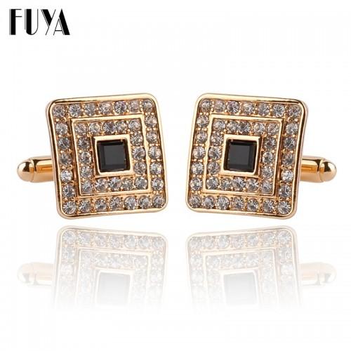 New trendy square geometric cufflinks buttons gifts Fashion silver golden rhinestone crystal twins cufflinks mens shirt