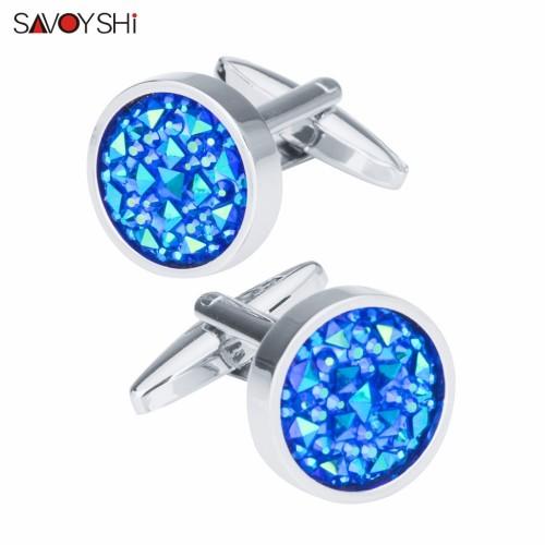 SAVOYSHI Fashion Blue Crystal Cufflinks For Mens Shirt Accessories High Quality Brand Round Cuff Buttons Wedding