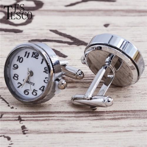 high quality silver clock go watch Cufflinks Wedding gift brand men shirt cuff