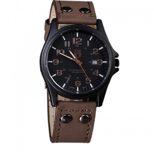 Brand men watch New mans clock Men s Date Leather Strap watches Sport Quartz Military Wristwatch