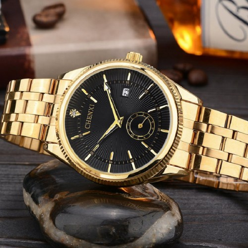 CHENXI Gold Watch Men Luxury Business Man Watch Golden Waterproof Unique Fashion Casual Quartz Male Dress