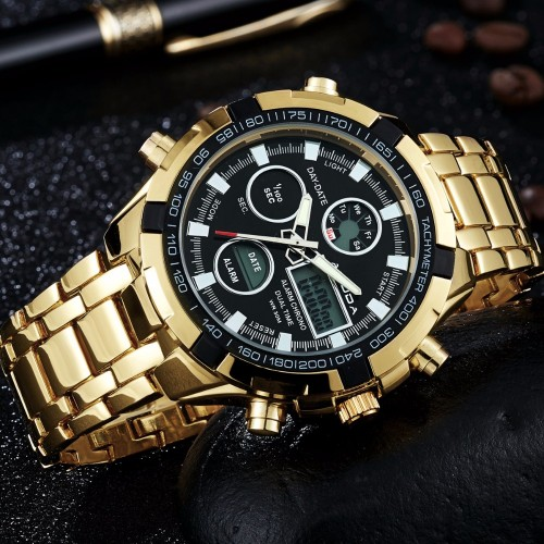Fashion Watches Men Luxury Brand AMUDA Gold Golden Watches Men Sports Quartz watch Dual Time