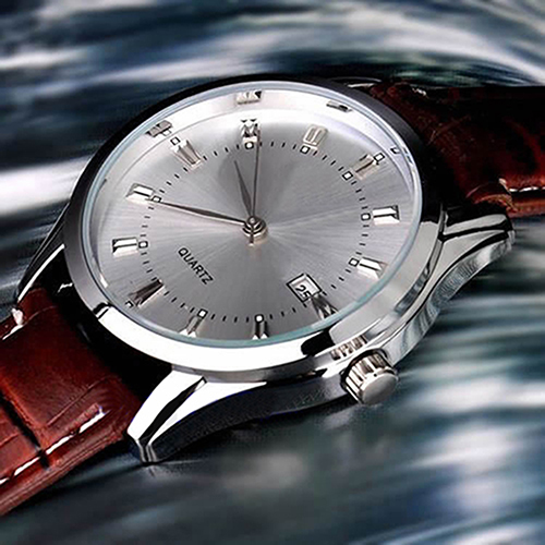 Men Casual Faux Leather Band Date Calendar Dial Analog Quartz Wrist Watch