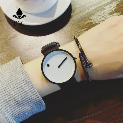 Minimalist style creative wristwatches BGG black white new design Dot and Line simple stylish quartz