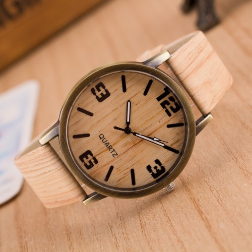 New Design Vintage Wood Grain Watches for Men Women Fashion Quartz Watch Faux Leather Unisex