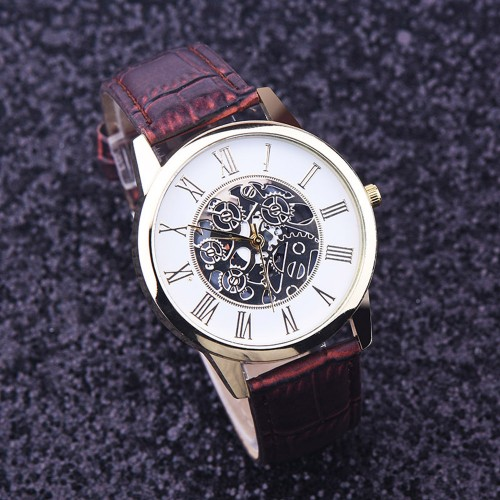 Watches Men Rreloj Hombre Golden hollow watch Luxury Casual steel Business Imitate Mechanical Watch Male clock