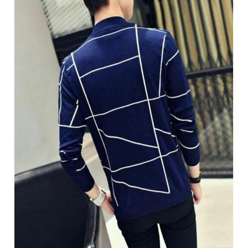 Fashion Men Casual Blazer Autumn Slim Plaid Single Trench Coat