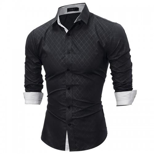 2017 Fashion Brand shirt Summer Plaid Men Slim Fit Shirt Long Sleeve Casual Social Male Shirt