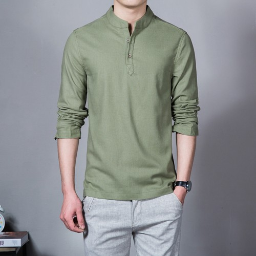 2017 Fashion Long sleeve Men s shirts male casual Linen shirt men Brand Plus size Asian