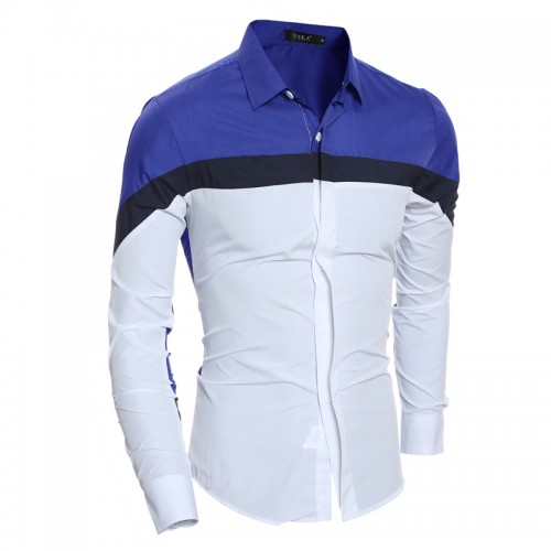 2017 Men s Brand Dress shirt Mens Polka Splice Shirt Slim Fit Male Shirts Long Sleeve