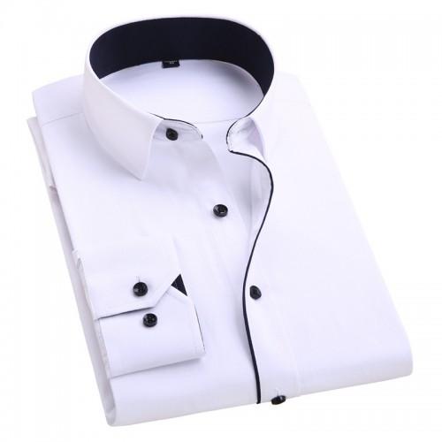 2017 Men s Wedding Shirt Long Sleeve Men Dress Shirt Business Solid Color Casual Shirts Work