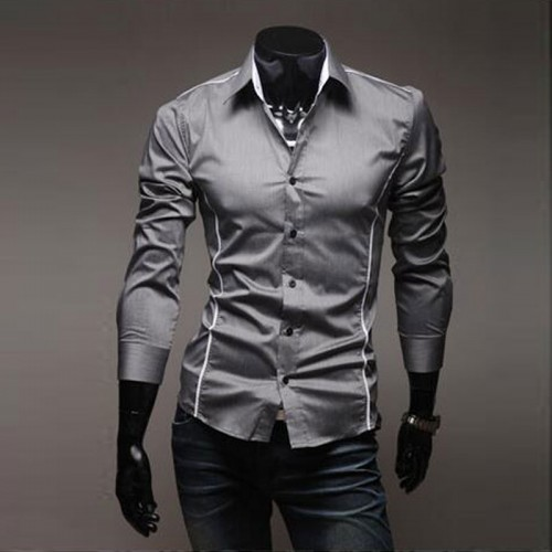 2017 New Arrival Perfect Cropped Striped Men Casual long sleeved Shirt Fashion White Border Dress Camisa