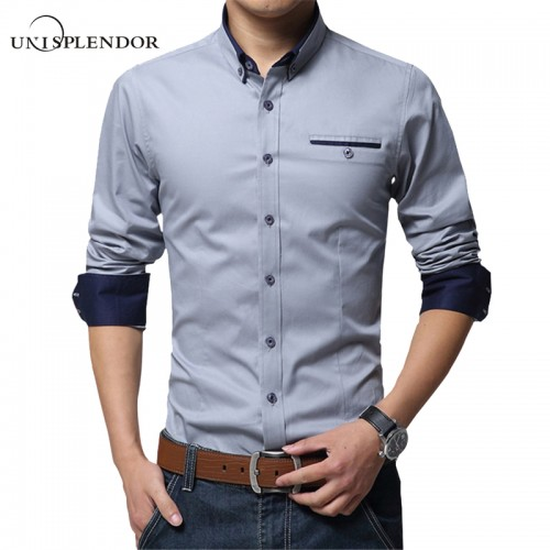 2017 New Spring Cotton Shirts Men High Quality Long Sleeve Slim Fit Shirt Pure Color Modern