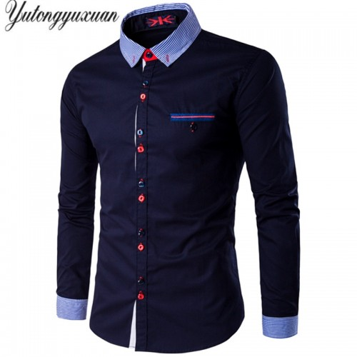 2017 Plus Size Mens Shirt Dress Long sleeve Striped Collar Casual All match Male Business Tops