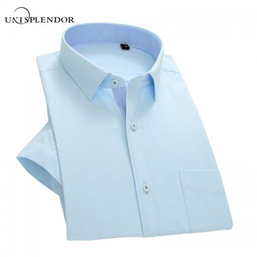 2017 Summer Men Short Sleeve Shirt Slim Fit Men s Dress Shirts Solid Color Pocket Patchwork
