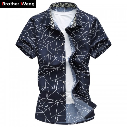 2017 Summer New Men Shirt Fashion Plaid Printing Male Casual Short Sleeve Shirt Large Size Brand
