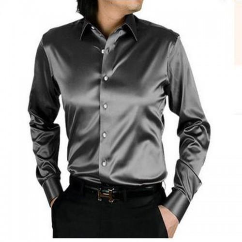 2017 long sleeve autumn spring thin fashion loose casual silk men dress shirt plus size plus