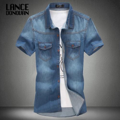 3 color blue summer denim jeans shirt for men short sleeves 2014 summer Korean style fashion