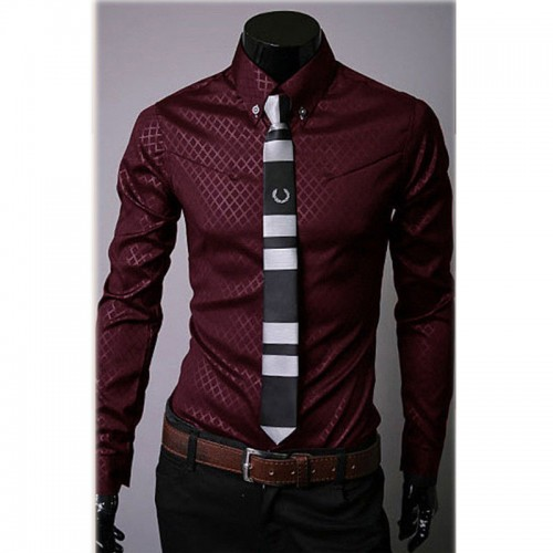 Fashion Men s Luxury Casual Shirts Slim Fit Dress Shirts Long Sleeve Button Tops