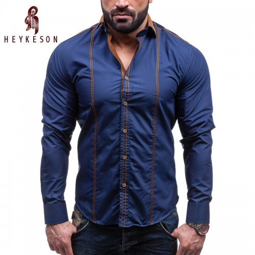 HEYKESON Men Shirt Brand 2017 Male Large Size Long Sleeve Shirts Casual Hit Color Slim Fit