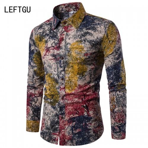 HOT 2017 Fashion Long sleeve Men s shirts Casual Random patchwork Print Linen Shirt men Brand