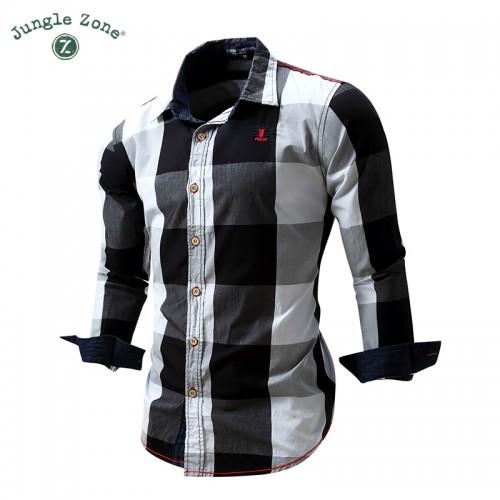 JUNGLE ZONE European size big plaid shirt design men s long sleeved 100 cotton Shirt casual