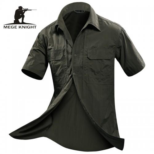 MEGE Summer Men Shirt Short Sleeve Military Shirt Mens Loose Fashion Casual Boss Shirt Vetement Homme