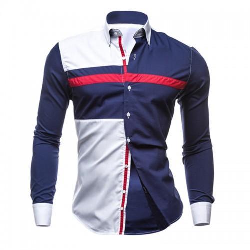Men Long Sleeve Shirt 2016 Male Striped Shirts Slim Fit Camisa Social Masculina Male Casual Social