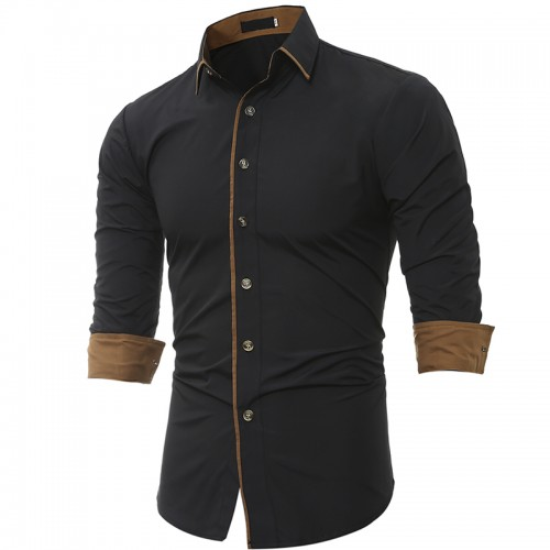 Men Shirt Brand 2017 Male High Quality Long Sleeve Shirt Caueal Solid color Slim Fit Black