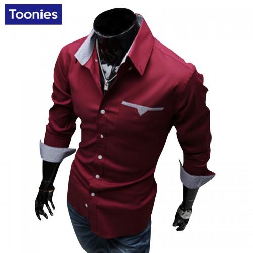 Men Shirt Long Sleeve Mens Clothing Shirt Men 3 Colors Casual Slim Fit Camisa Hombre Single