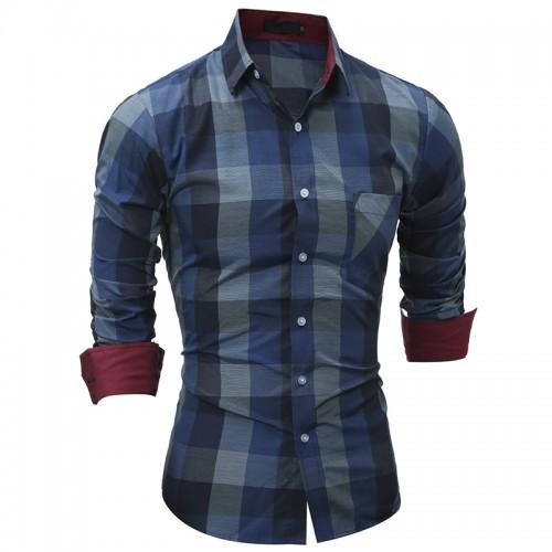 Men s Plaid Casual Shirt New Fashion Men Clothes Slim Fit Men Long Sleeve Shirt Cotton