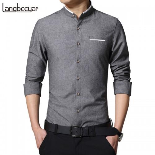 New Fashion Casual Men Shirt Long Sleeve Mandarin Collar Slim Fit Shirt Men Korean Business Mens