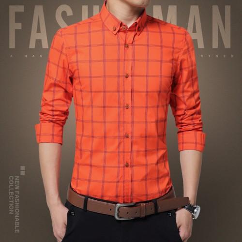 New Plaid Shirt Men Fashion Casual Long Sleeve Turn Down Slim Fit Shirt Men High Quality