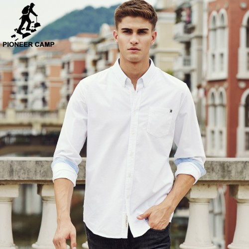 Pioneer Camp casual shirt men brand clothing 2017 new long sleeve slim fit solid male shirt