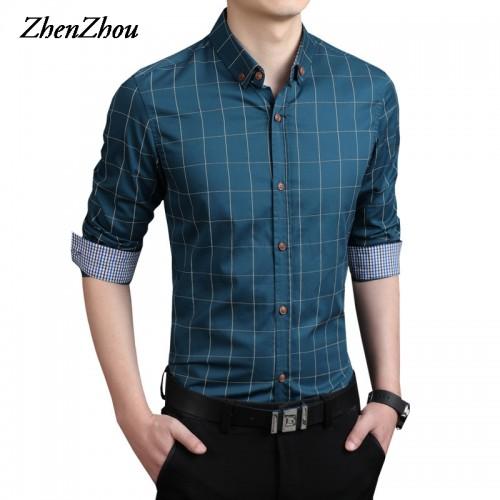 ZhenZhou Plaid Men Shirts Tailoring Slim Fit M 5XL 100 Cotton Mens Dress Shirts Male Clothes