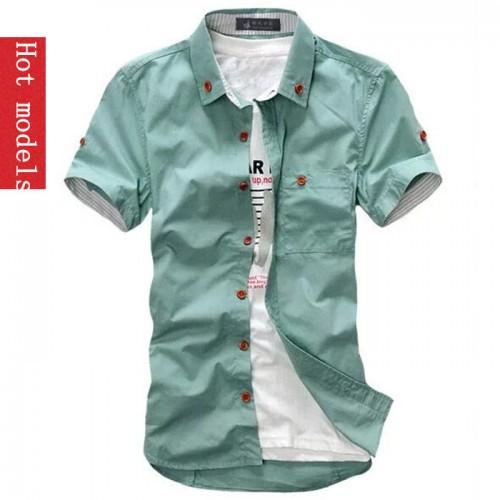 hot 2017 fashion brand men s short sleeve Shirts Top Quality Summary Table Slim shirt white