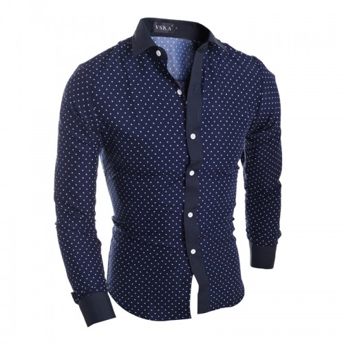 New Brand Stars Hearts Prints Fashion Mens Dress Shirts Long sleeve Slim Fit Casual Social