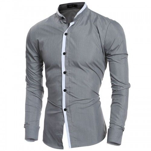 2016 Fashion Mandarin collar Solid Mens Dress Shirts Long sleeve Slim Fit Casual Social Camisas Masculinas