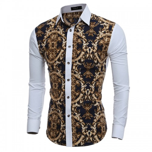 2016 Large Vintage Floral Prints Mens Dress Shirts Long sleeve Slim Fit Casual Social Camisas Masculinas